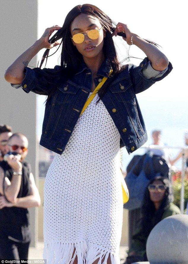Jourdan Dunn looks effortlessly chic in a navy bardot top #dailymail