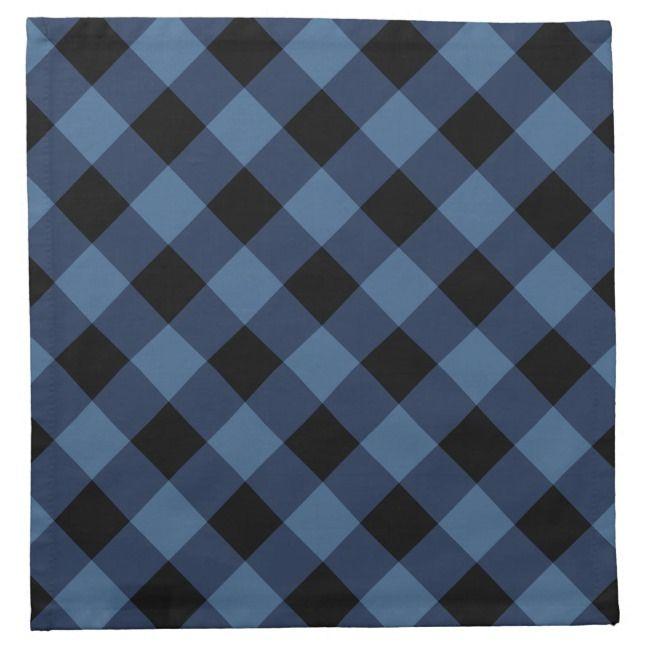 Rustic Black And Blue Buffalo Plaid Holiday Cloth Napkin