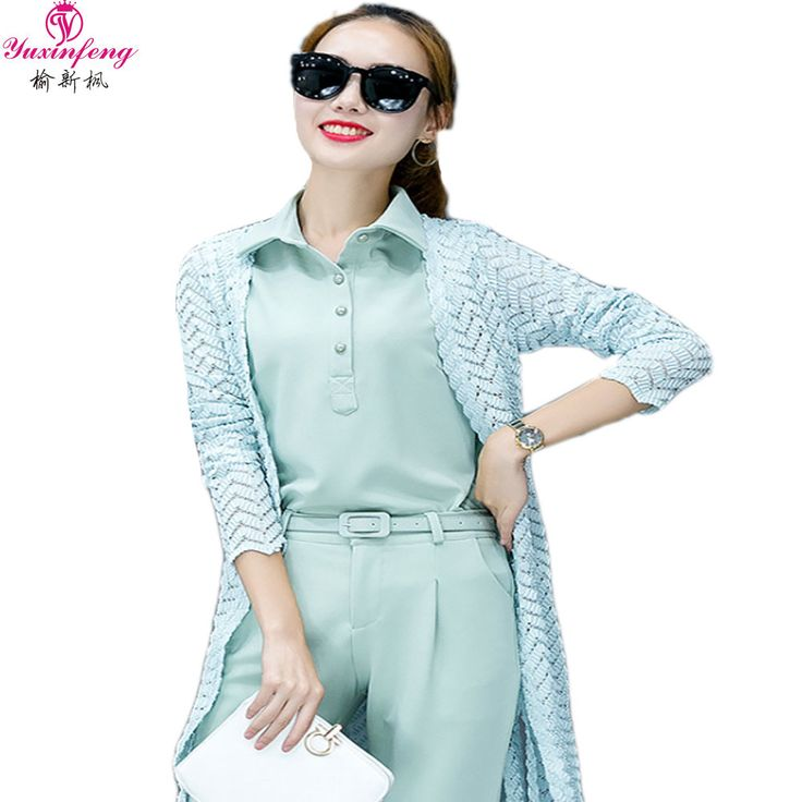 2017 Spring New Designer Women Pants Suits Sets for Work 3 piece pant suit Fashion Elegant Pantsuits lace Jacket+Vest+Pant