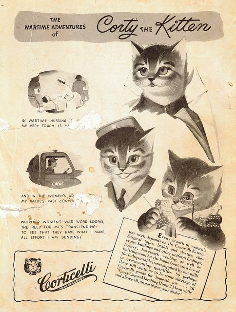 Corticelli ad, wartime, Corty the kitten