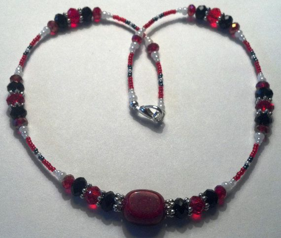 19 inch handmade red white and black Chinese by MGBeadCreations, $35.00