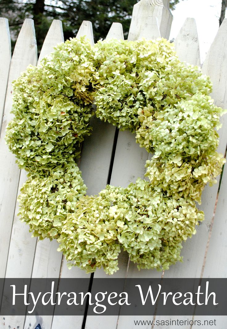 Dried Hydrangea Wreath made by @jenna_burger, featured on www.sasinteriors.net