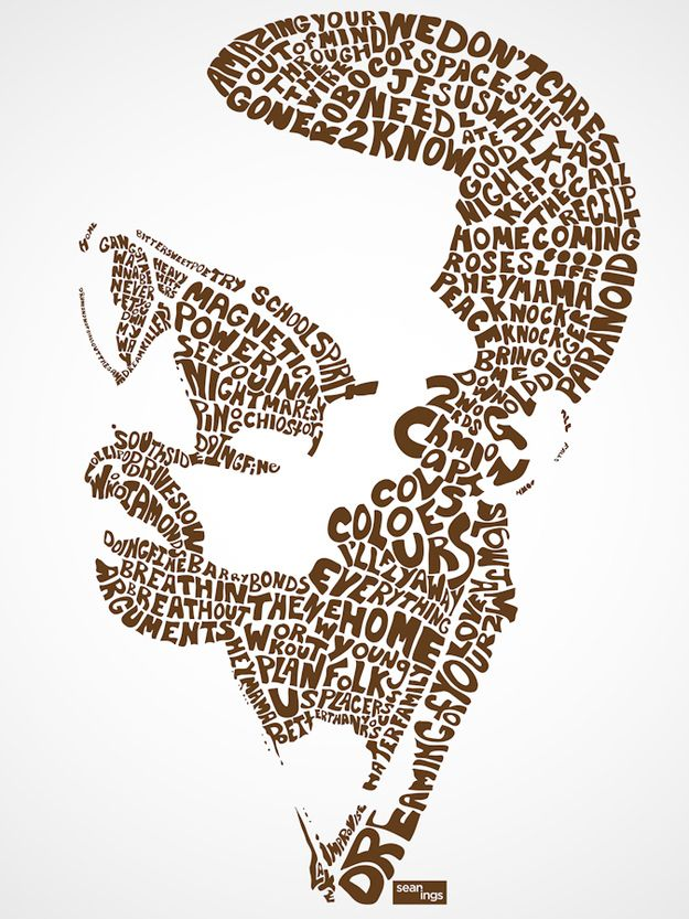 Kanye West | Pop Star Portraits Made From Their Famous Lyrics