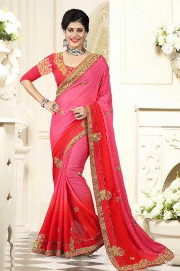 Georgette Saree With Banglori Silk Blouse In Baker-Miller Pink - DMV12223
