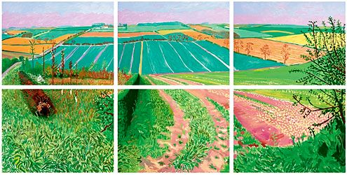 The Road To Thwing, early spring 2006, by David Hockney, oil on canvas, six parts 190.5x381 cm
