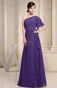 Dark Purple Simple A-line Short Sleeve Half Backless Floor Length Ruffles Bridesmaid Dresses