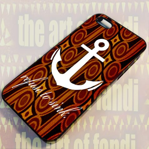 Anchor Foral Wood For iPhone 4 or 4s Black Rubber Case