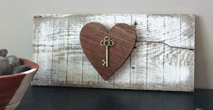 Key To My Heart Reclaimed Wood Sign With Skeleton Key