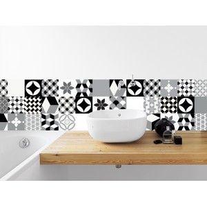 Manufacture - Papier peint de créateur composé de motifs évoquant un patchwork de carreaux de ciment revisité
