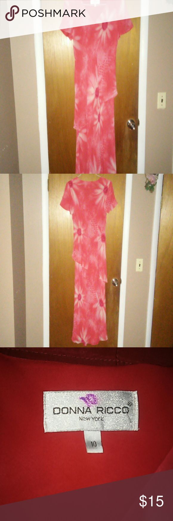 """Donna Ricco Asymetrical summer dress Size 10 Donna Ricco asymmetrical maxi (orange/red) floral dress.    Short sleeve.  Excellent condition, except for the """"10"""" written in marker on the tag. Donna Ricco Dresses Maxi"""