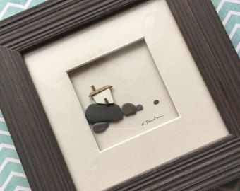 8 by 10 sea glass and pebble <i>своими</i> seaside village by by PebbleArt