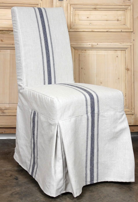 Superb Slip Covered Country French Parsons Chair  Love The Striped Linen!