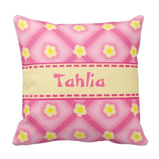 Cream Flowers Pink Ribbons Lace Puff Quilt - This throw pillow cushion features a pink puff quilted look with cream coloured flowers along with pink frilly lace and ribbons. There's a big ribbon running through the middle to place your baby girls name.