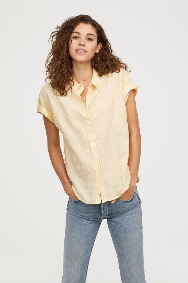 22607a98412c Short-sleeved Cotton Shirt - Yellow white striped - Ladies