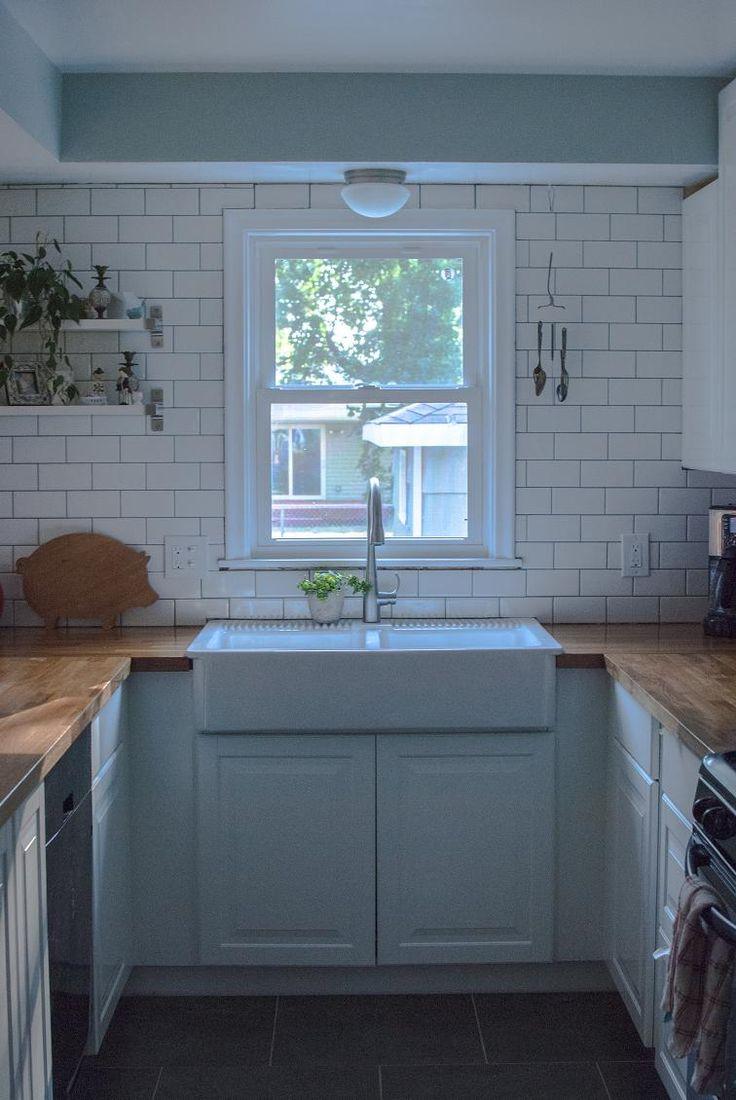white subway tile, IKEA butcher block counters, domsjo