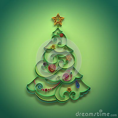 Christmas tree conifer decoration quilling