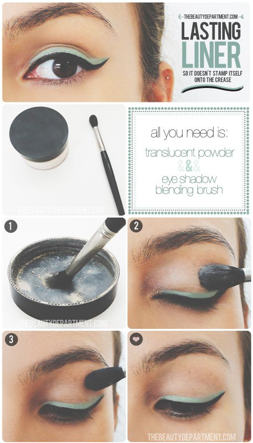 Oily eyelid rescue! For this trick use Mary Kay's new Translucent powder with our Eye Crease Brush!