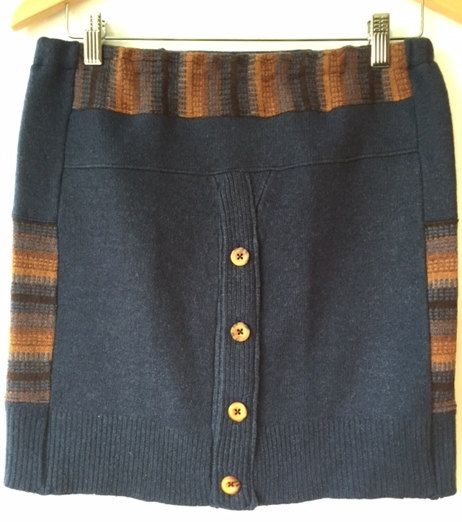 Upcycled Wool Bum Warmer, Wool skirt, Women's mini skirt made from a recycled navy cardigan and a multi coloured sweater