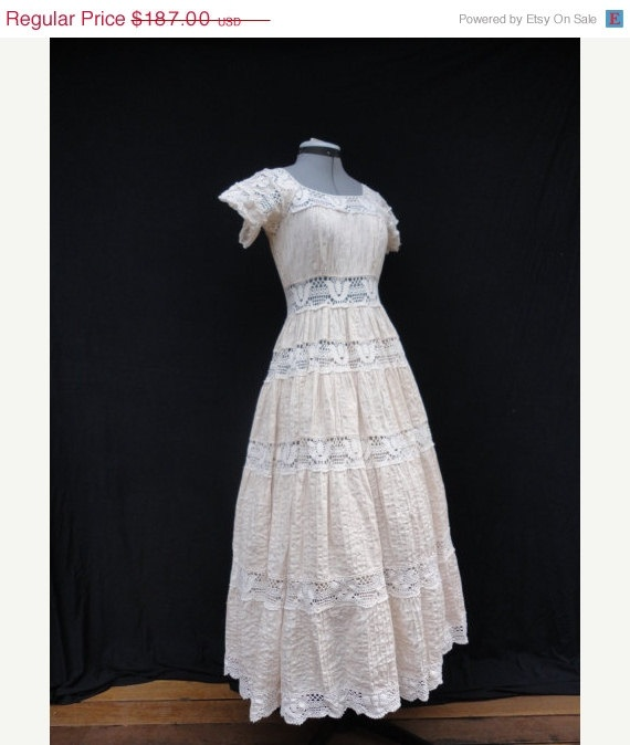 Wedding dress vintage 1970s bisque boho mexican lace for 1970s wedding dresses for sale
