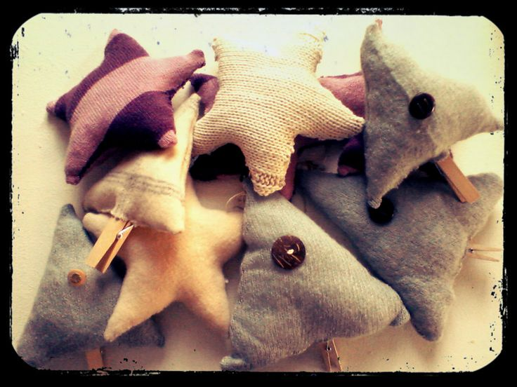 Hand made stars & trees from recycled sweaters