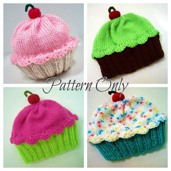 Knitting Pattern Cupcake Hat PDF INSTANT DOWNLOAD Cherry on Top diy Preemie Toddler Child Kids Adult sizes via Etsy