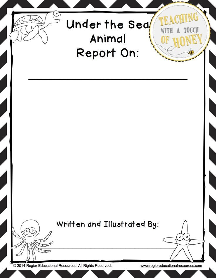 367 best UNDER THE SEA ideas images on Pinterest Preschool - animal report template