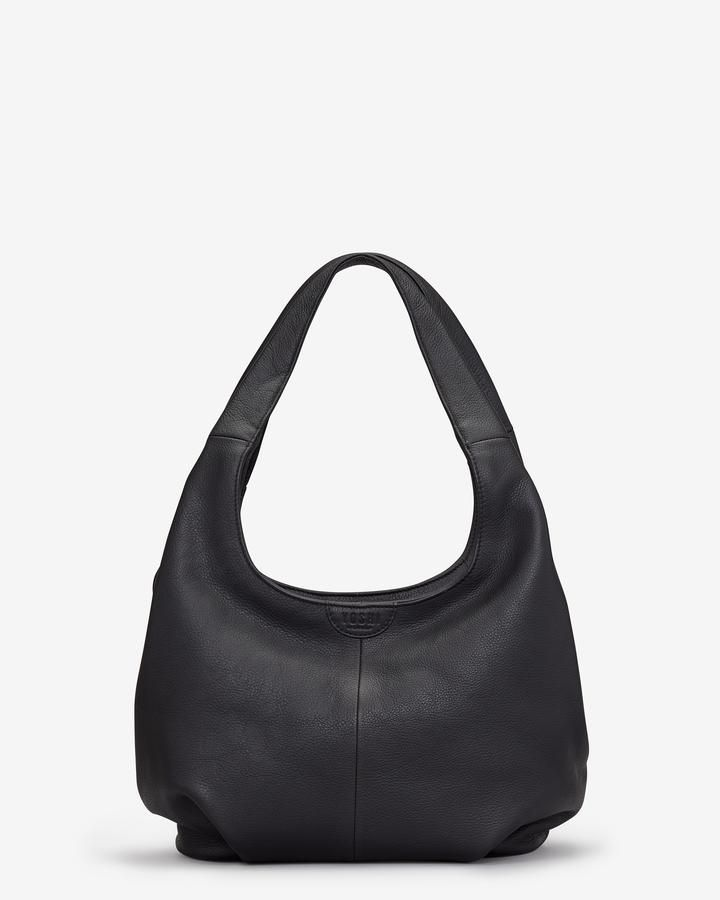f14d48101fc3 Shop our Meehan Black Leather Slouch Shoulder Bag for women handmade in  soft genuine black leather with a slouchy style constructions.