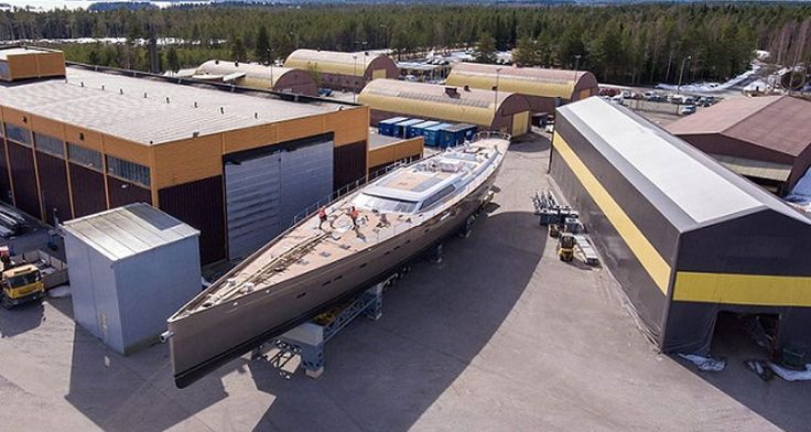 Baltic Yachts' all-carbon composite, 160-ton single-mast yacht the Pink Gin VI is one pace to debut in the water by May 12.