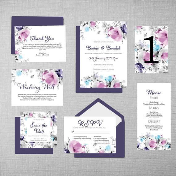 Wedding Stationary Invitations Set PRINTABLE DIY CUSTOM Modern