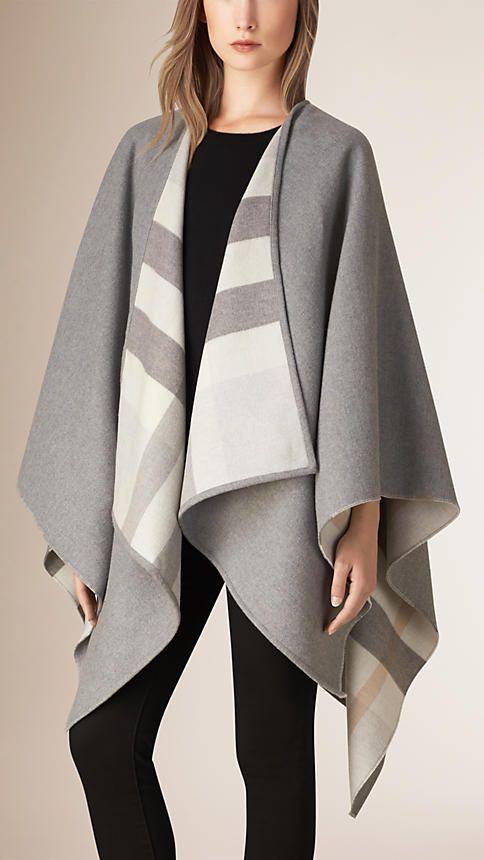 Xadrez cinza claro Poncho de lã com forro xadrez - Imagem 1