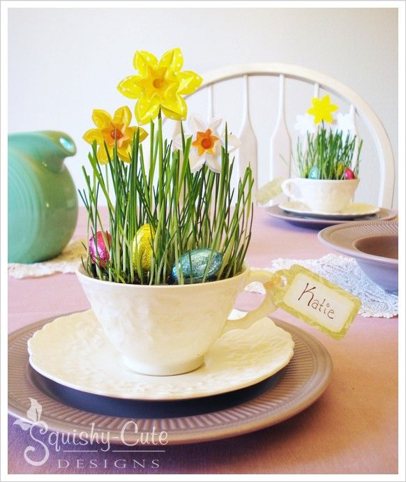 Easter table settings - Easter centerpiece - paper daffodils - spring baby shower ideas - spring birthday party ideas - teacup crafts