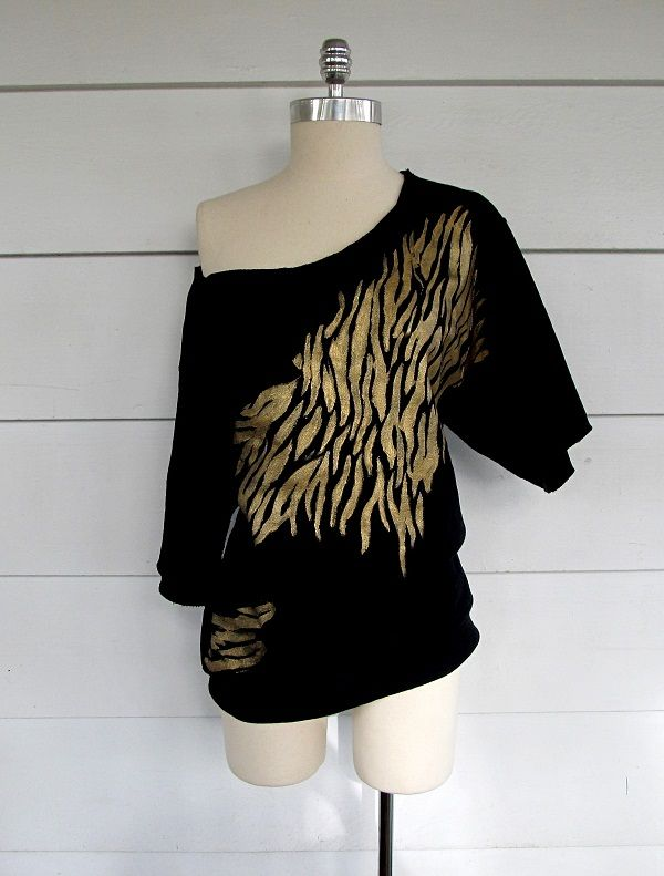 Off the shoulder Gold, Zebra Sweatshirt.