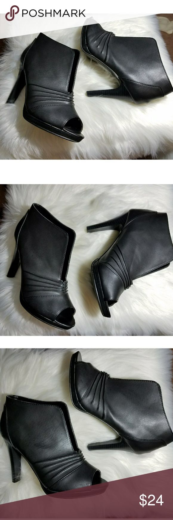 "Maurices Open Toe Boots Maurices Open Toe Boots Size 7.5 4"" Heel Slip On Like New Condition Maurices Shoes Heeled Boots"