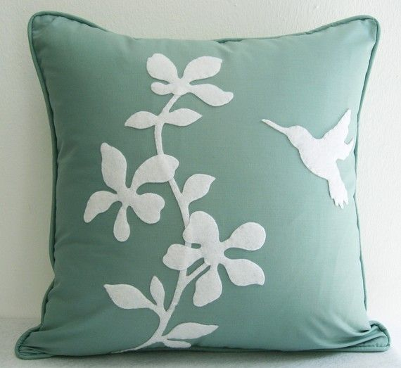 Spring Blossom Humming Bird Mint and White by RaineStyleHome