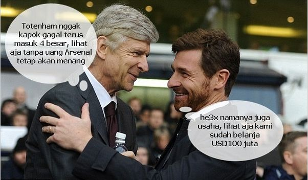 Wenger meremehkan Tottenham AVB walau sudah belanja USD100 juta tetap susah menang dari Arsenal