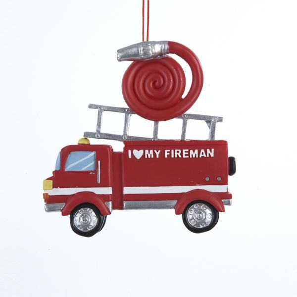 "RESIN PAINTED FIRE TRUCK PERSONALIZED PLAQUE ORNAMENT ""I LOVE MY FIREMAN."""