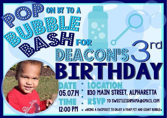 CUSTOM Bubbles Birthday Party Invitation - Bubble bash - Pop on Over - sweetleighmama, $7.00