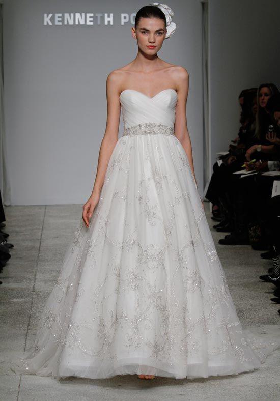 kenneth pool a-line wedding dress with sweetheart neckline and natural waist waistline