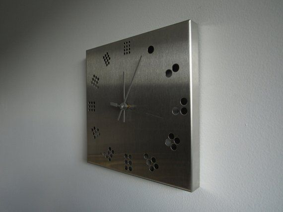 Industrial Stainless Steel Wall Clock Minimal Geometric Design Vintage Square Clock Square Clocks Wall Clock Steel Wall