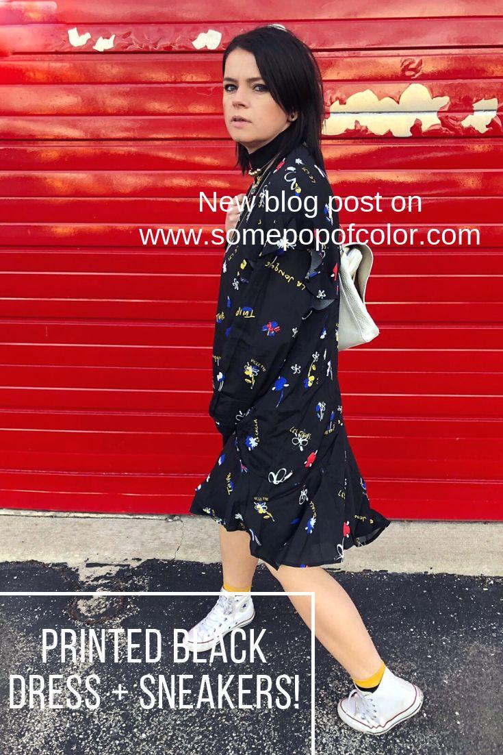 Printed Black Dress With Asymmetrical Hem Sneakers Black Print Dress Office Fashion Women Work Wear Office [ 1102 x 735 Pixel ]