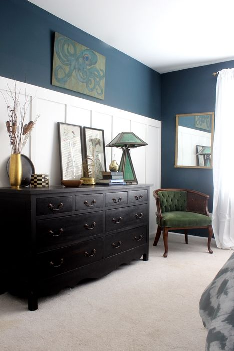 master bedroom tour w/ lots of vintage finds and a handpainted octopus. Love the wall color...BM Newburg Green