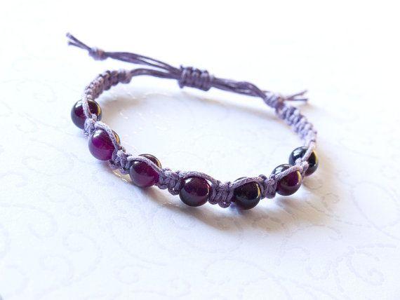 Purple macrame bracelet with agate beads beaded bracelet