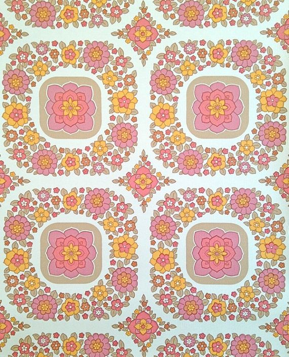 ♡ This listing is for one meter of a vintage wallpaper (100 cm or 39,4)    ♡ The width is 53 cm (approx 20,9)    ♡ If you purchase several meters,