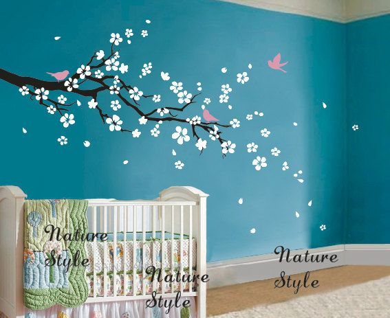 cherry blossom wall decals flower vinyl wall decal tree nursery wall decals sticker baby children white decal-plum blossom with Flying Birds