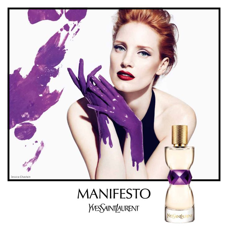 Manifesto Yves Saint Laurent perfume - The composition begins with a fresh green wave, bergamot and black currant. The heart includes accords of white flowers such as Sambac jasmine and lily of the valley. The base is woody and slightly oriental and captures notes of cedar, sandalwood, vanilla and tonka bean. Lovely!