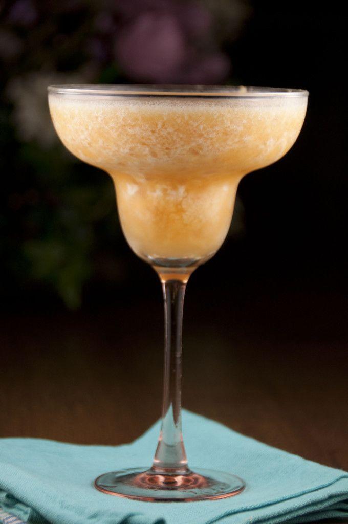 Frozen Peach Daiquiri Recipe made with fresh overripe peaches.