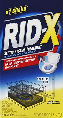 RID-X Septic Tank System Treatment, 1 Month Supply Powder, 9.8oz  Helps maintain a free-flowing septic system & prevent expensive septic tank back-up problems  Simply pour 9.8oz of powder down the toilet & flush  Advanced enzymes immediately start to break down household waste  Safe for all pipes and septic tanks  1 month supply of treatment for tanks up to 1500 gallons