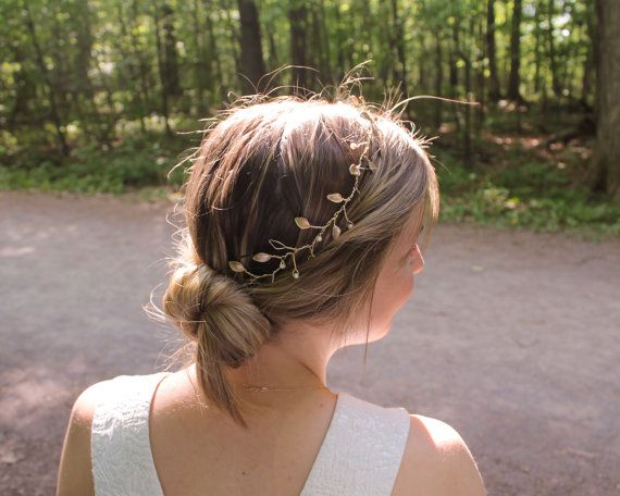 Olive: Floral Wire Crown Leaf Crown Gold by HappilyEverHeadwear