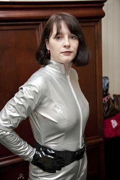redux - Zoe Heriot homage from Dr Who PVC catsuit.  PVc Gloves.  Spacegirl.