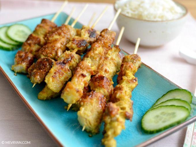 Met deze saté wordt jouw BBQ een feestje! Maleisisch saté recept van Lai Xue Hong - Food blog © MEVRYAN.COM, Aziatisch koken  #saté #recepten #koken #varkensvlees #kurkuma #citroengras #BBQ #Aziatische #Indonesische #gerechten